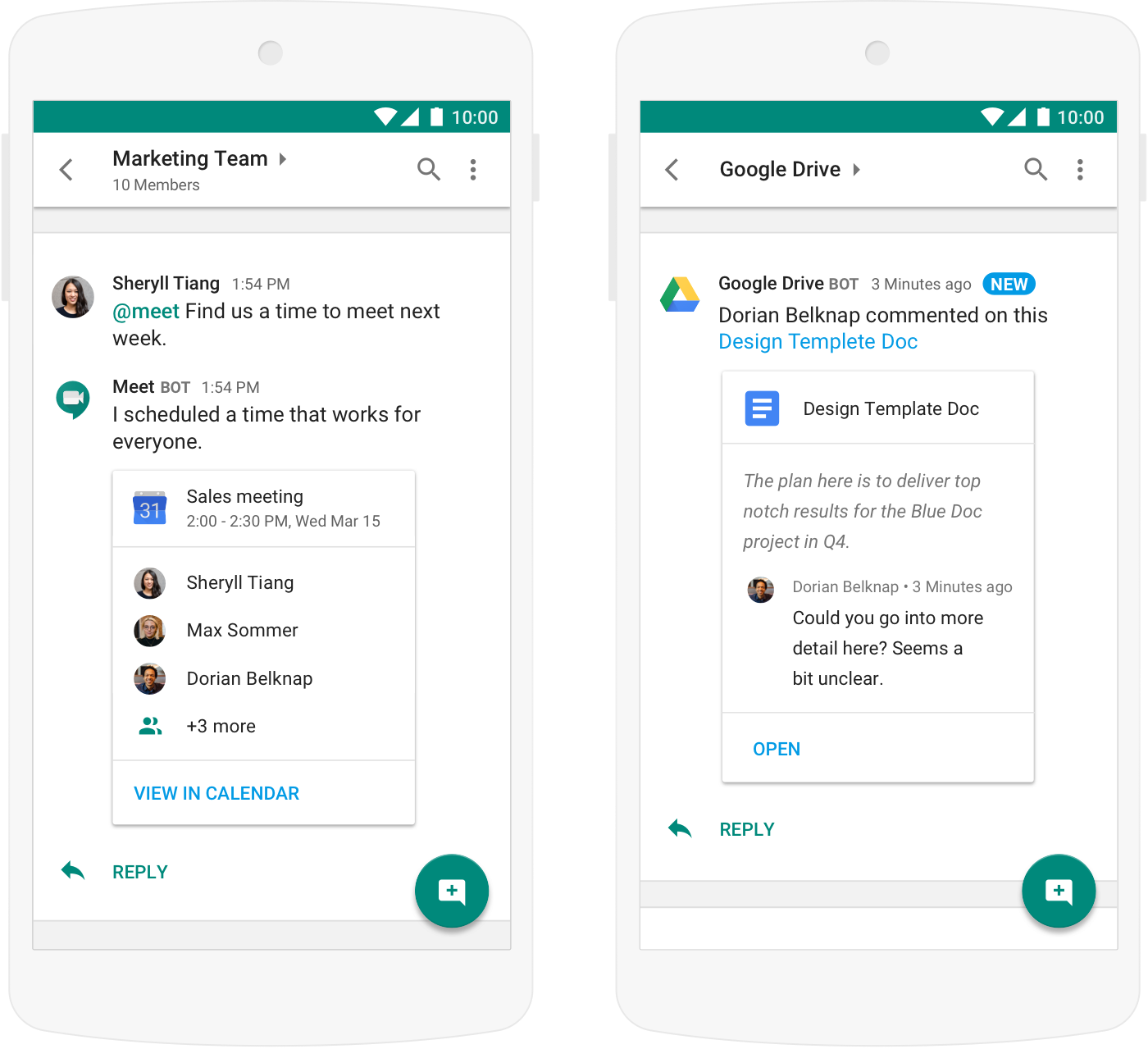 Hangouts Chat Mobile Interface