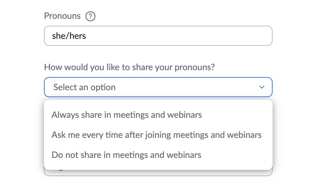 Always share in meetings and webinars, Ask me every time after joining meetings and webinars, and Do not share in meetings and webinars